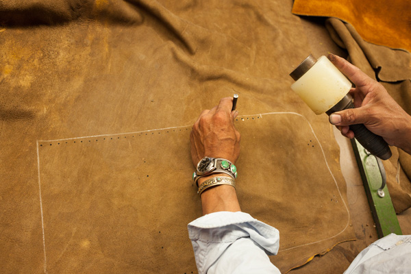 Moses uses all-natural materials, like this tanned buffalo hide from Alberta. Photo: Hannah Eden