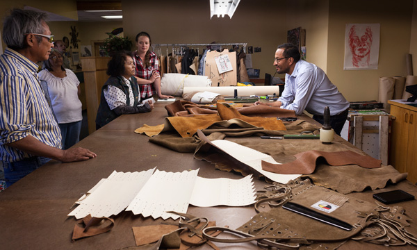 D'arcy Moses talks Dene design at his studio in Enterprise, NWT.