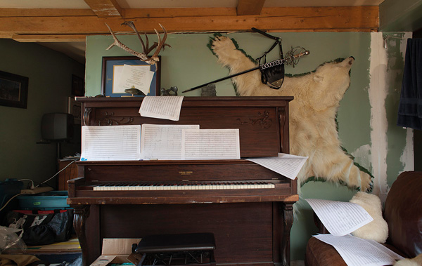 The composer's studio: Carmen's sheet music snakes around her house, in order, so she can walk along it, reading and imagining the music in time. Photo: Hannah Eden