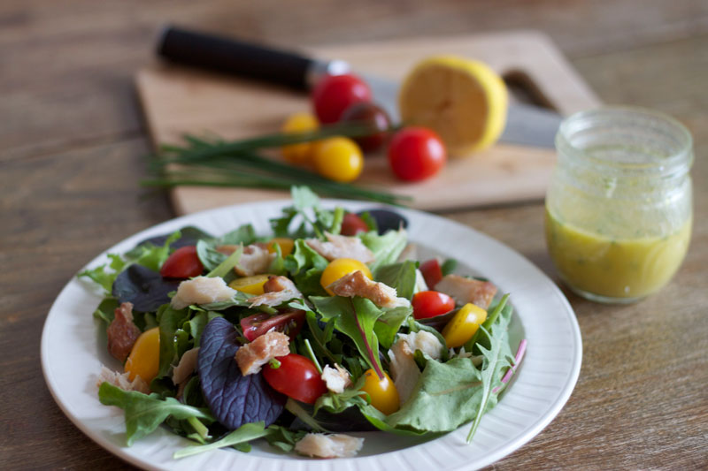 Baby greens and herbs salad with smoked trout. Photo and recipe by Amy Lam