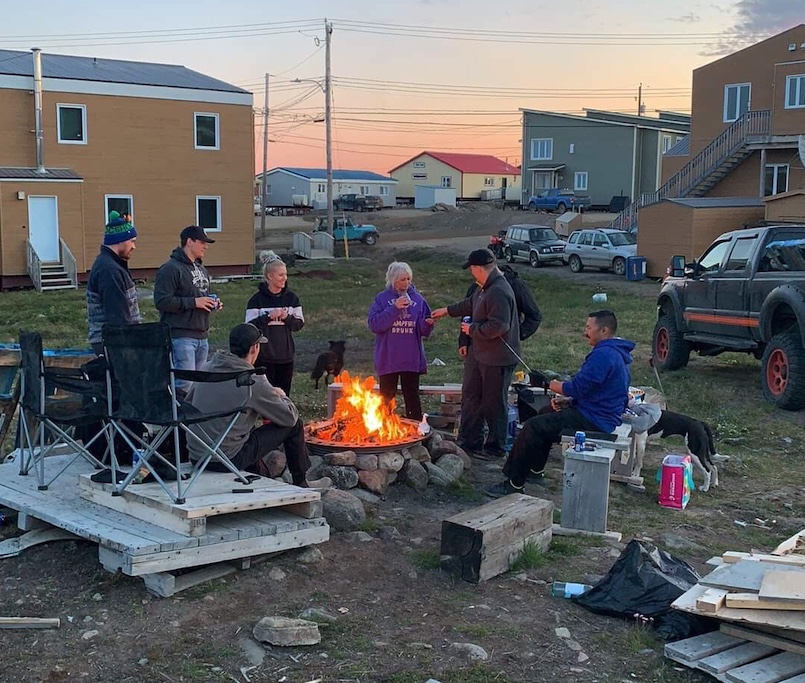 A midnight bonfire in Iqaluit. Courtesy of Olivia Irwin (via Instagram)