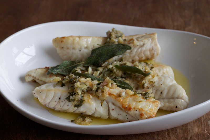 Pan fried burbot with lemon, garlic and sage butter sauce. Recipe and photo by Amy Lam
