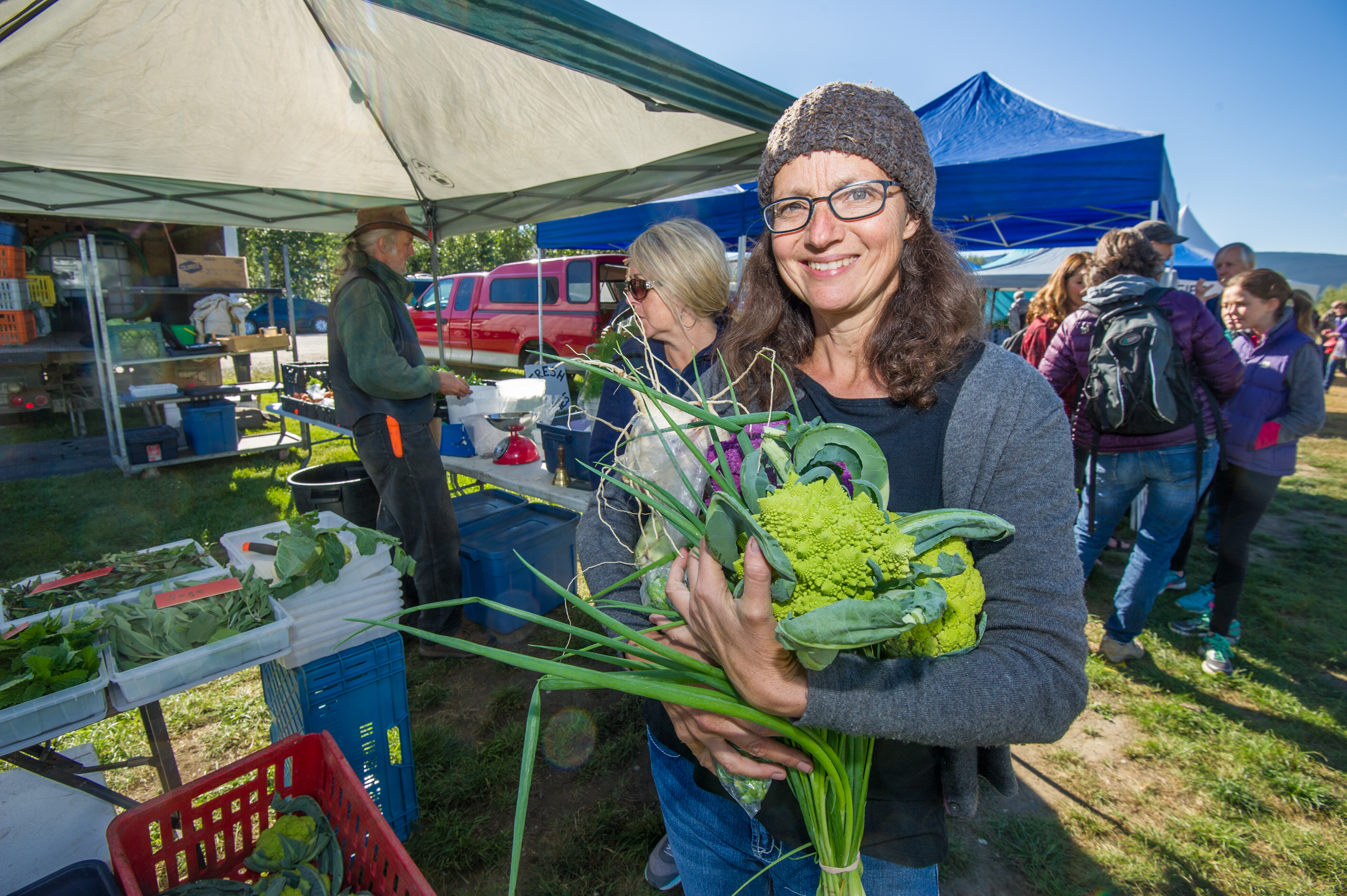 Crocker shops at the Dawson City Farmers Market. She chose a good time to embark on her local diet, as there has been a boom in local food growers and producers recently. Cathie Archbould