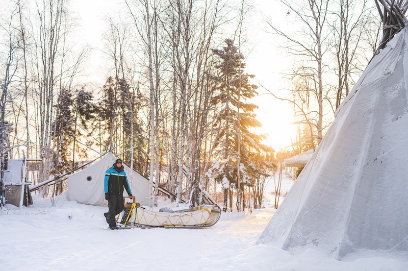 Taltson McQueen with his sled. PHOTO BY SAMANTHA STUART