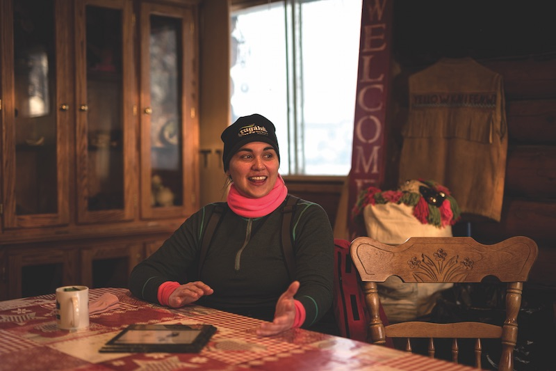 Jordee Reid smiles as she remembers the first time she was on the back of a sled pulled by her favourite dog, Christmas Angel. PHOTO BY SAMANTHA STUART