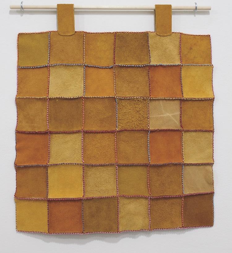 A leather patchwork quilt created by Yukon artist Teresa Vander Meer-Chasse. COURTESY TERESA VANDER MEER-CHASE