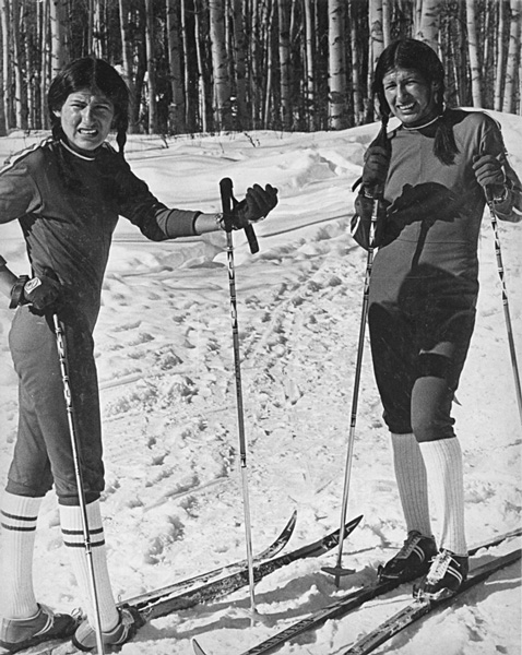 Sharon and Shirley Firth at the 1975 Senior Nationals in Burns Lake, B.C. Photo courtesy Jarl Omholt-Jensen