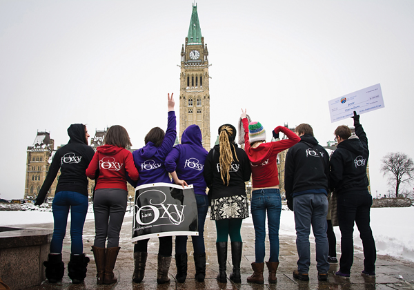 FOXY girls celebrate at Parliament Hill. Photo courtesy Kayley Mackay