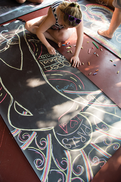 Lys has hundreds of these body maps from FOXY participants. Each one tells the story of a girl's roots, her hopes and dreams, her anxieties, and her power symbol. For many foxies, that's the best part of the day. Photo courtesy Kayley Mackay/FOXY