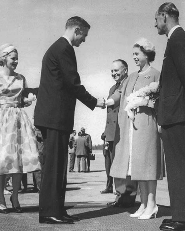 Rolf and Margaret Hougen meet Queen Elizabeth II in 1958.