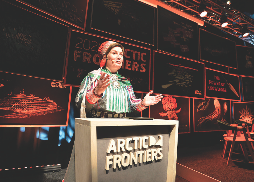 Sami Parliament President Ailo Keskitalo addresses the opening plenary session. ALBERTO GROHOVAZ/ARCTIC FRONTIERS 2020