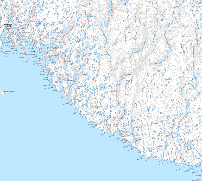 Inuktitut place names. This detail comes from a map of the region around Kimmirut, Nunavut, published as part of a series produced by the Inuit Heritage Trust. But many of these traditional place names are not yet officially recognized by the federal and territorial governments. The map series is available to download on the IHT website, ihti.ca.