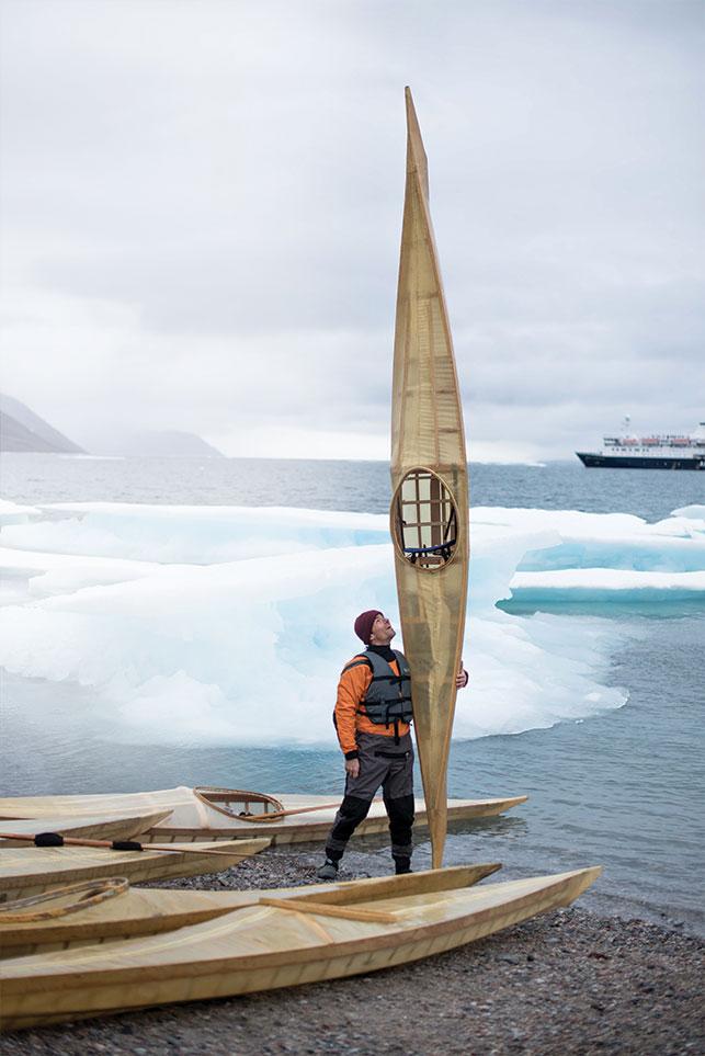Adam van Koeverden in Qiajivik on Baffin Island with the Students on Ice 2018 expedition. Photo courtesy Students on Ice Foundation/ Natta Summerky