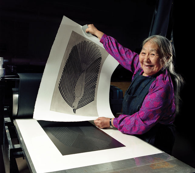Kenojuak Ashevak (1927 - 2013) worked in graphite, pen and coloured pencil. She also produced soapstone carvings, etchings and stonecut prints. Photo courtesy AGO/Paul Couvrette