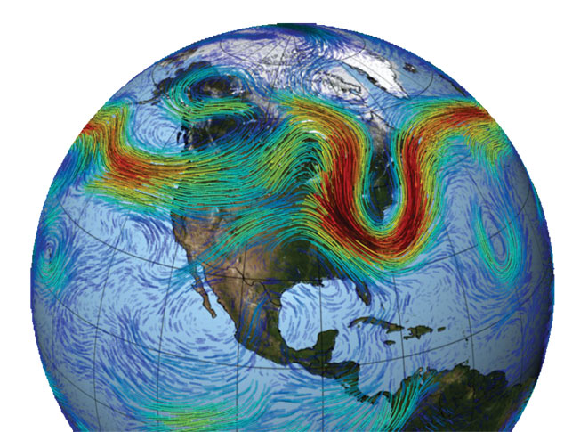 The jet stream is formed by the pressure difference between cold northern air and warm southern air. The greater the temperature difference is, the stronger and straighter the jet stream. COURTESY NASA/GODDARD SPACE FLIGHT CENTER