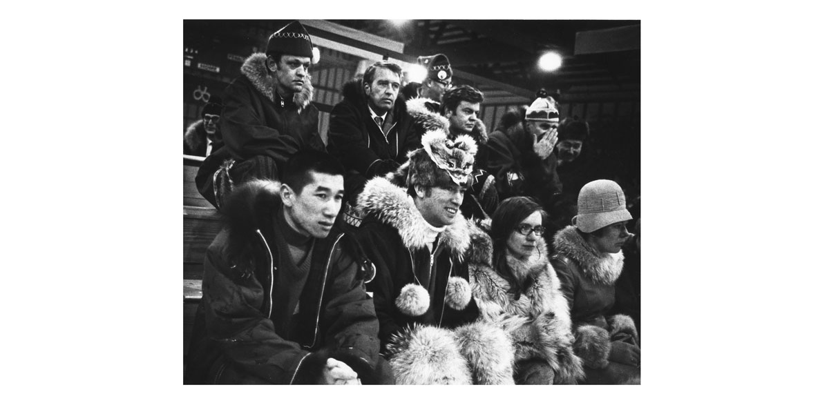 A few familiar faces in the crowd at the inaugural Arctic Winter Games. NWT ARCHIVES/N-1979-052:1234/Sport North Federation