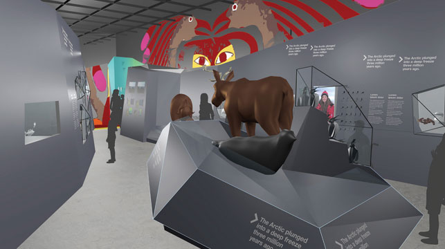 Until all the pieces are put in place, renderings show how the Arctic Gallery will take shape. Photo courtesy Dan Smythe, Canadian Museum of Nature