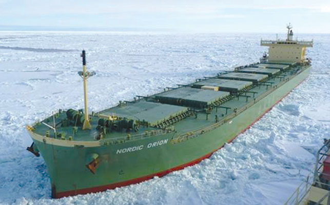 Danish ice-class bulk carrier the Nordic Orion.