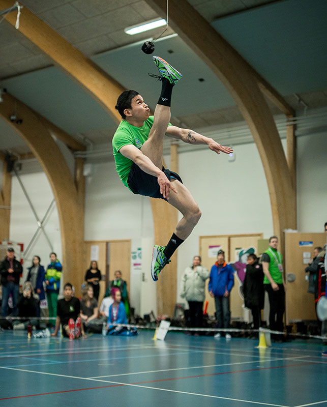 The one-foot high kick competition in Nuuk, Greenland in 2016. The games record is 2.9 metres. Photo: Mads Phil/ Visit Greenland.