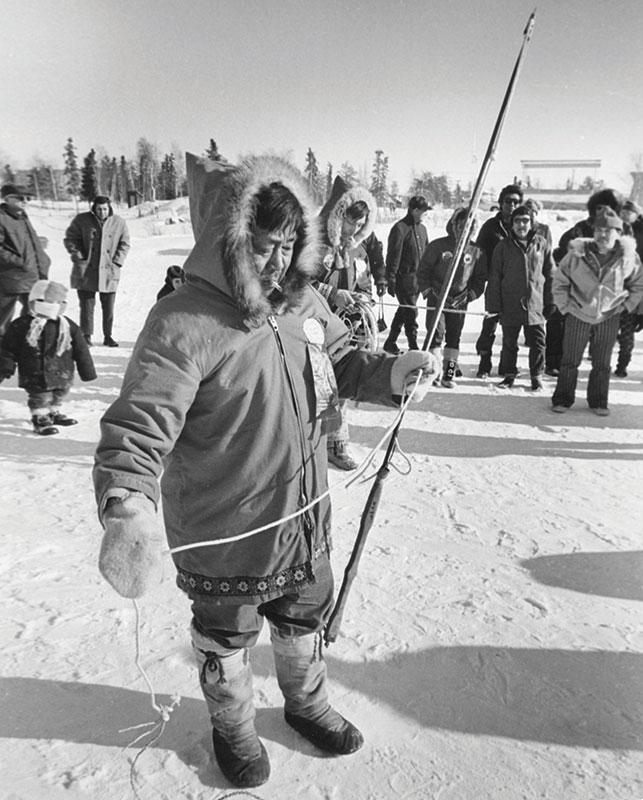 Preparing for the harpoon toss in 1970. Arctic Games have been the most popular contests dating back to the first Arctic Winter Games in Yellowknife. Photo courtesy NWT Archives/Henry Busse/N-1991-060-0007/Sport North Federation.
