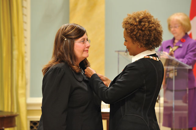 Arlene Hache was invested into the Order of Canada in 2009 for her lifetime of advocacy work with the Yellowknife Women's Society. Courtesy MCpl Jean-François Néron, Rideau Hall