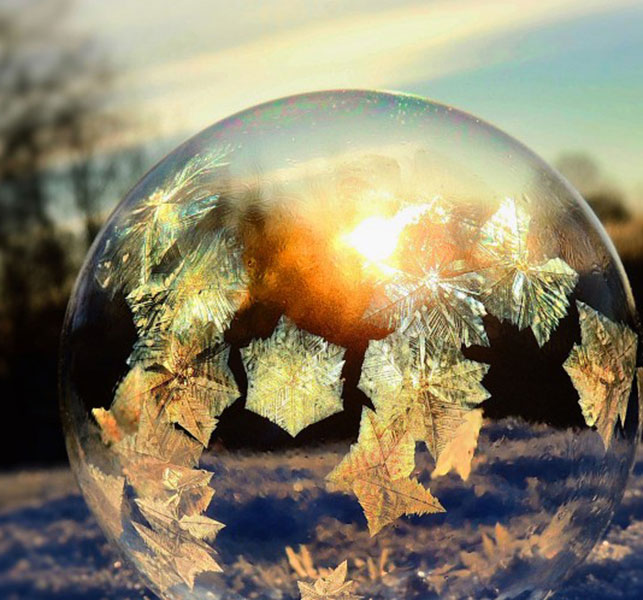 Ice Globe: Make your own frozen bubble. Photo by Michelle Fritz.