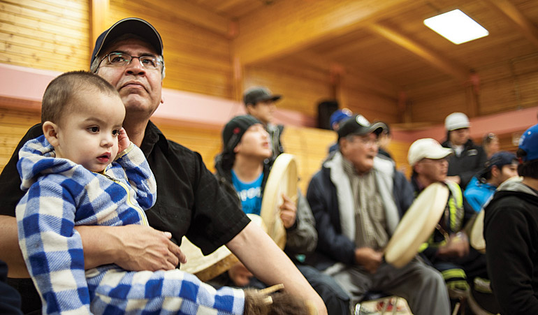 Negotiator Danny Gaudet at a handgames event in Deline. Photo by Tim Edwards