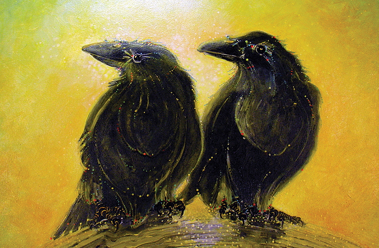Two ravens in love in Terry Pamplins painting, Couples