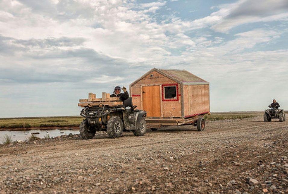 ack Irkok's mobile-second-home. The Arviat resident moves his cabin by ATV. Photo by Paul Aningat
