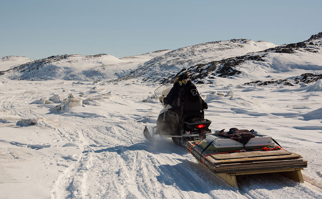 With no roads, supplies are hauled in by snowmachine for the summer. Photo by Pamela Wood