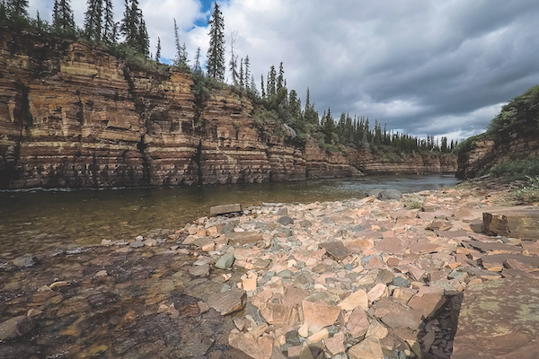Cliffs along the banks of the Kendall River, near the Coppermine, are like a history book to geologists/Vivien Cumming