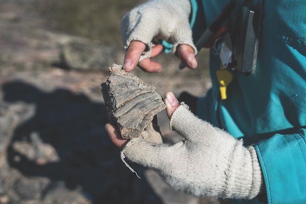 Geologist Elizabeth Turner points out some dark features on a rock that may be evidence of early life/Vivien Cumming