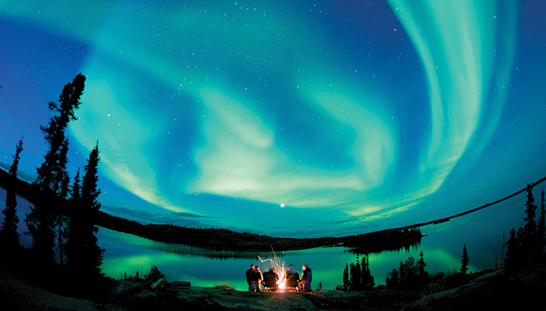 The Northern Lights illuminate the sky at Blachford. Photo courtesy Blachford Lake Lodge