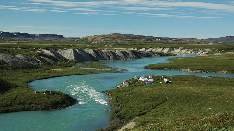 One of Plummers Lodges outpost camps on the Tree River in Nunavut. Photo courtesy Plummers Arctic Lodges.