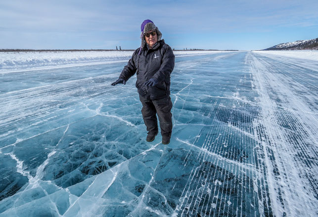 Gerry Kisoun on the Inuvik-Tuk ice road. Photo by Dianne Chisholm