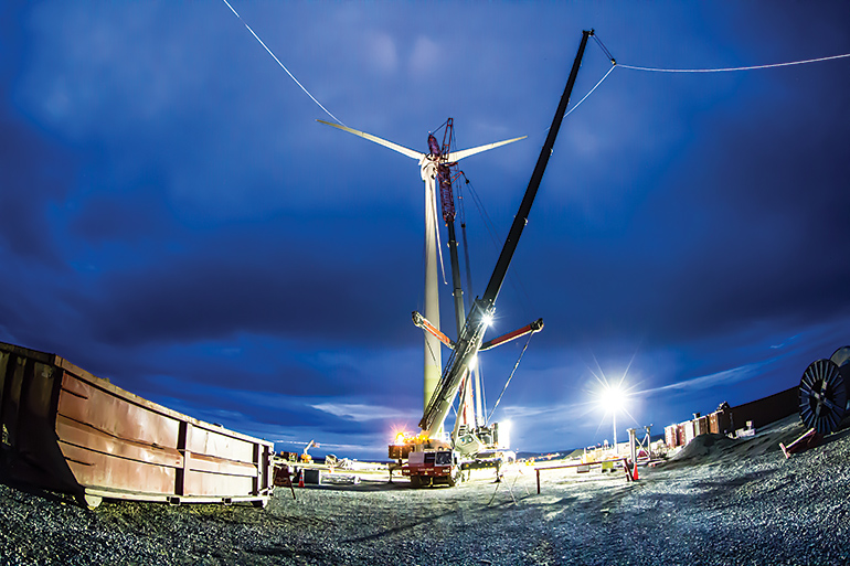 Putting the final touches on the 3.0-megawatt wind turbine at Glencore's Raglan nickel mine in Nunavik. Photo courtesy of Glencore