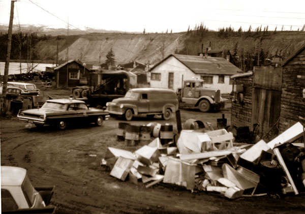 A street scene in Whiskey Flats before its demolition. (Yukon Archives, Whitehorse Star Ltd.)