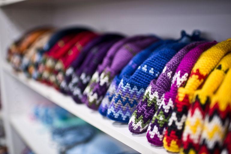 Pang hats, the ultimate Pangnirtung souvenir. Photo by Angela Gzowski