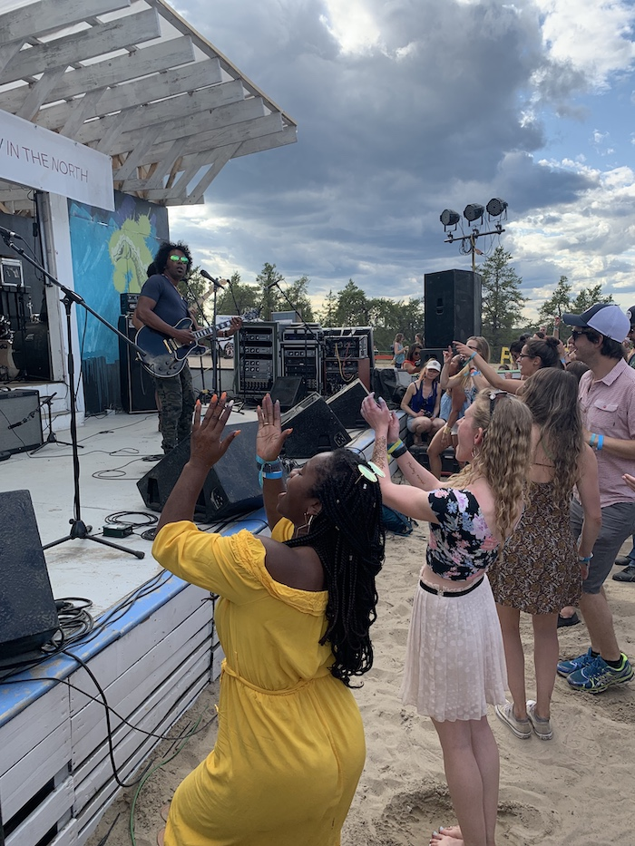 Yellowknife shows some love for Alex Cuba at the beer garden stage.
