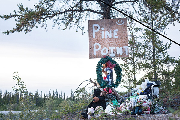 Today's Pine Point memorial. Photo by Hannah Eden/Up Here