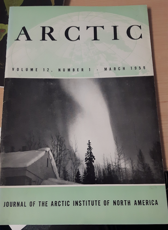 The cover of the March 1959 issue of ARCTIC Journal, taken by aurora lover professor Hessler from the University of Alaska.
