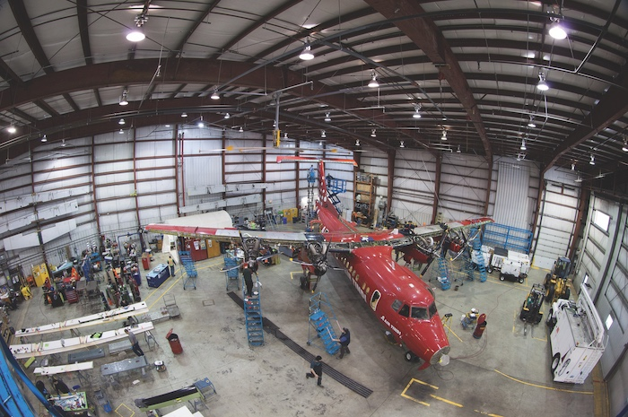 Air Tindi's hangar at the Yellowknife airport. Tindi was sold in the collapse of Discovery Air. Photo by Bill Braden