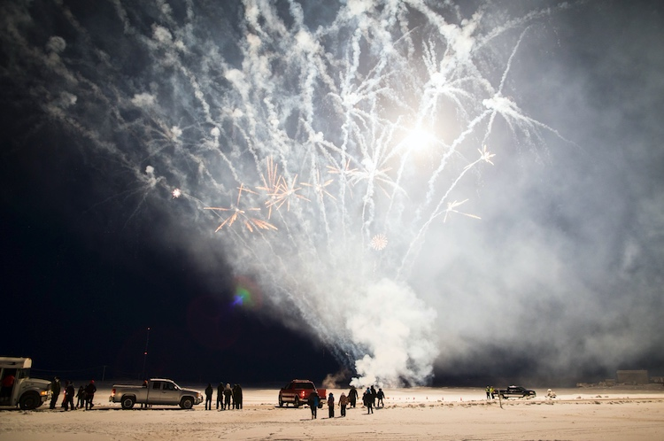 Fireworks at the opening of the Inuvik-Tuktoyaktuk Highway.