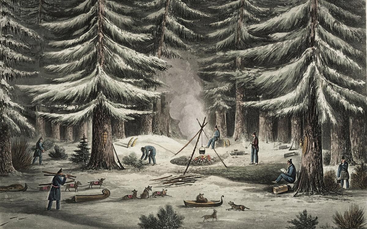 In a drawing by explorer George Back, a band of British adventurers bunk down in the wintery north woods. Institute for Northern Studies Fonds, University of Saskatchewan Archives
