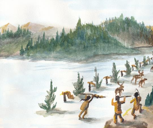 Once the herd was spotted, the men would make wolf sounds to scare the caribou into the corral. Women and children would line the fence to keep the caribou headed towards the ambush point, where a team of men would be ready with spears and arrows to slaughter them. Illustration by Beth Covvey