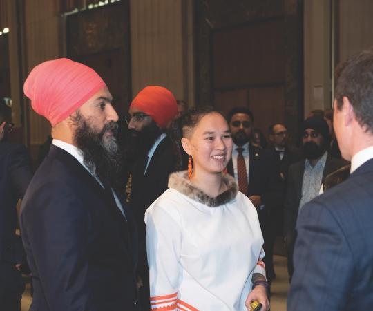 Qaqqaq pictured in Ottawa at her swearing-in ceremeony last October with NDP leader Jagmeet Singh.