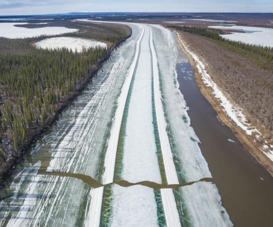 Final breakup of the Inuvik-Tuk ice road. Photo by Kristian Binder