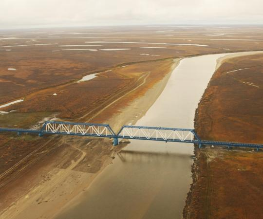 The Yuribey River bridge, at 3.9 kilometres, is the longest above the Arctic Circle. Photo courtesy Gazprom