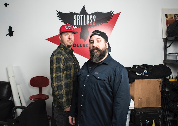 Jay Bulckaert (left) and Pablo Saravanja are the co-creators of Yellowknife's Artless Collective. COURTESY ARTLESS COLLECTIVE/PAT KANE