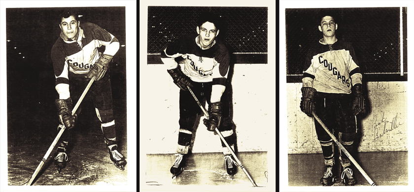 The kid line. From left, Johnny Paul, 17, Johnny Balsillie, 18, and Bobby Balsillie, 16, formed a skilled, speedy line for the 1963-64 Con Cougars. Photos courtesy Bobby Balsillie